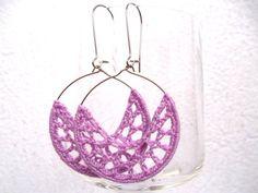 Lilac dangle earrings crochet hoops lavender by Myhandmadepassion, $12.90