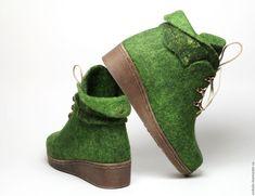 """Обувь ручной работы. Валяные ботильоны """"Долина Мхов"""". Алеся Исмагилова (unikalis). Ярмарка Мастеров. Обувь ручной работы, greenery"""