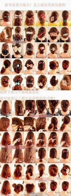 Many, MANY hairstyles examples/ideas.  From buns, braided hair, bowed hair, to tails, and updos.  ***** Referenced by Web Hosting With A Dollar (WHW1.com): WebSite Hosting - Affordable, Reliable, Fast, Easy, Advanced, and Complete.©