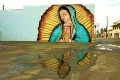 This Pin was labeled as Mexican Street Art. What's amazing is that I know exactly where this is. It's located right across the street from our church the Old Mission in El Paso, TX. I have always loved this mural. Murals Street Art, 3d Street Art, Street Art Graffiti, Mural Art, Street Artists, Wall Mural, Madonna, Chicano Art, Texas