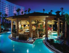 These high-end resort pools offer Waterfalls and Cabanas, Glass-Bottom Pools, Sand-Bottom Pools, Hot Tubs, Poolside Cafes and Bars and fabulous views of the Vegas skyline and surrounding mountains all from the Vegas Strip. But, most importantly, these Casino Resort Pools offer Bikini Blackjack and Poolside Gambling!
