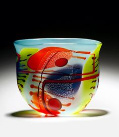 "2 Sided Painted Art-Glass Bowl by Robinson Scott - D:11""high x 12""wide x 4""deep ♥•♥•♥FANTASTIC♥•♥•♥"