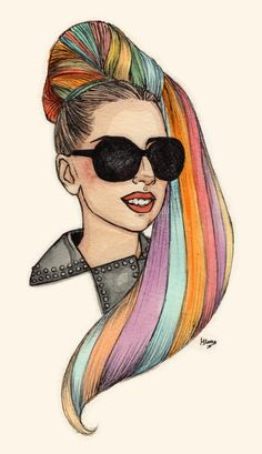 Gaga Rainbow Blonde BEST BLOG EVERR, AMAZING DRAWINGS BY HELEN GREEN