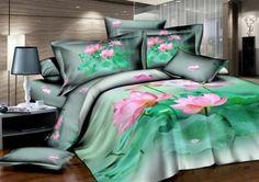 Natural Green Under Color With Pink Flower Printed 4 Piece Cotton Bedding Sets 3d Bedding Sets, Cotton Bedding Sets, Queen Bedding Sets, Comforter Sets, Linen Bedding, Bed Linen, Lotus Pond, Floral Bedding, Bed Sets