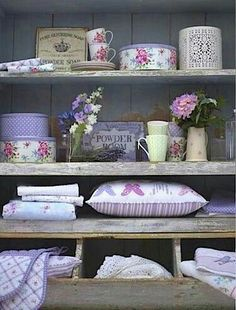 shelves with pretty purple items