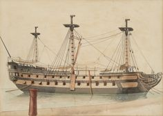"Ange Joseph Antoine Roux (1765-1835),  ""A warship laid up in ordinary"",  signed, inscribed and dated 'Ant Roux Toulon 1806' (lower right) Watercolour over pencil"