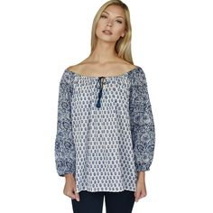 Printed Cotton Peasant Top (Navy)