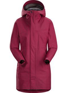 Codetta Coat Women's Waterproof, three-quarter length GORE-TEX® rain jacket with hood.