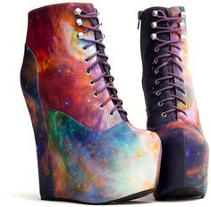 Damsel - Rainbow Galaxy by Black Milk + Jeffrey Campbell Dream Shoes, Crazy Shoes, Funky Shoes, Cute Shoes, Me Too Shoes, Heeled Boots, Shoe Boots, Boot Heels, Wedge Boots