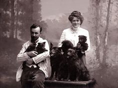 GERMAN SPITZ LADY AND GENTLEMAN WITH DOGS DOG PRINT MOUNTED READY TO FRAME