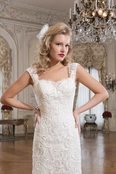 Justin Alexander wedding dresses style 8761 Venice lace fit and flare dress featuring a sweetheart neckline.