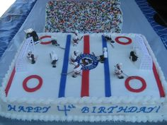 Hockey Rink cake idea -- for Haven
