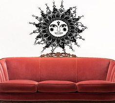 Sun Ornament Sky Night Stars Wall Sticker Decor Living Room Office Decal tr238