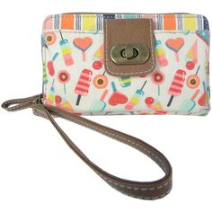 Unionbay Candy Print Wallet (66 PEN) ❤ liked on Polyvore featuring bags, wallets, wristlet bag, white bags, print wallets, wristlet wallet and zip bags