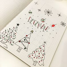 Bullet journal monthly cover page,  December cover page,  Christmas tree drawings.  @skip2mydoodle