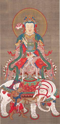 Ito Jakuchu The Bodhisattva , Samantabhadra. from Sakyamuni Triptych ca. first half of the 1760s. ink and colors on silk. Jotenkaku Museum Shokokuji Monastery Kyoto