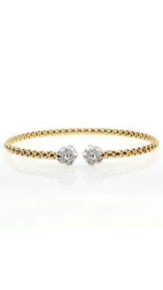 Yellow Gold Italian Cable Diamond Fiore Bracelet.