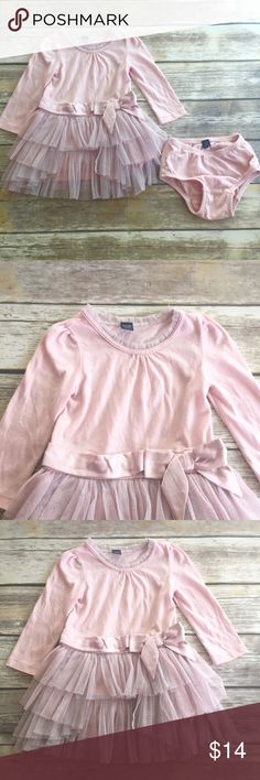 Baby Gap Tutu Dress Pink long sleeve dress with tulle Tiered skirt, affixed bow belt, and matching bloomers. VGUC. GAP Dresses