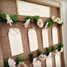 Rustic daisy/hessian seating plan from a recent wedding. The tables were named after types of tea. Wedding Sitting Plan, Seating Plan Wedding, Wedding Table, Wedding Favors, Rustic Wedding, Wedding Decorations, Seating Plans, Table Seating, The Plan