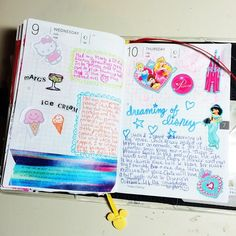 #hobonichi 07.09-10.14. #powerpuffkay #kayshobonichi #diary #journal #planner #notebook #techo #decotape #cute #colorful #kawaii #handwriting #disney #castle #princess #jasmine #belle #cinderella #aurora #hellokitty #lace #doodle #cursive