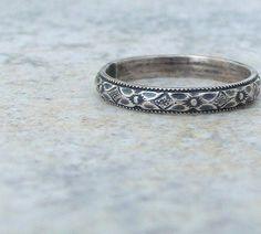 Floral Silver Ring Wedding Band Wedding Ring. $30.00, via Etsy.