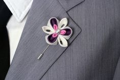 Wedding lapel flower Boutonniere Pink white and by Nevestica, $16.00