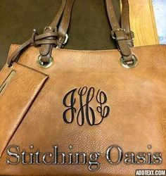 Monogrammed Purse Vegan Leather Tote Bag