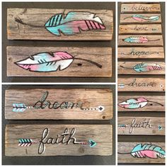 3 handpainted signs feather/arrow/flower/infinity 12 by MushTushy