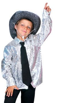 Kids Costumes - This Boys Silver Disco Costume Shirt features a button down front and wide collar and is made of a bright reflective dot fabric. Please note that this shirt is sheer and may require an undershirt. Cute Halloween Costumes For Teens, Diy Costumes For Boys, Toddler Boy Costumes, Disco Costume, Costume Craze, Costume Shirts, Costume Shop, Disco Fashion, Disco Shirt
