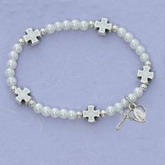 """Holy First Communion Girls Gift Faux Pearl Cross Shape Bead Miraculous Medal Crucifix Charm 6 1/2"""" Stretch Bracelet Needzo Religious Gifts. $18.20. Great First Holy Communion Gift!!. Bracelet is 6 1/2"""" Stretchable - One Size Fits Most"""