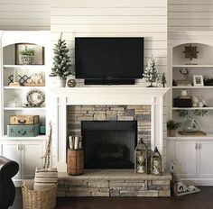 6 Glorious Clever Ideas: Living Room Remodel On A Budget Families living room remodel with fireplace interior design.Living Room Remodel On A Budget Families living room remodel with fireplace decor.Living Room Remodel With Fireplace Couch. Fireplace Redo, Fireplace Built Ins, Farmhouse Fireplace, Fireplace Surrounds, Fireplace Ideas, Shiplap Fireplace, Fireplace Stone, Craftsman Fireplace, Fireplace Bookshelves