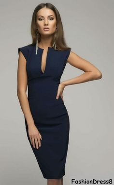Victoria Beckham-Dark Blue Dress,Elegant Pencil Dress.
