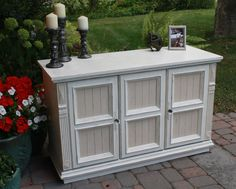 Old White and Old Ochre, distressed and clear-waxed. She came in looking pretty brown and boring and left with a sophisticated new look!   fb page is The Pawsitive Painter https://www.facebook.com/pages/Annie-Sloan-Canada-31-Days-of-Chalk-Paint/866453600056134?fref=ts