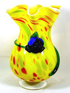 Large Spatter Glass Vase Hand Blown  #Murano