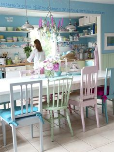 An Inspiring Painted Kitchen in Pastel Hues and Candy Colours