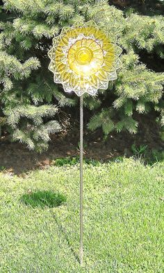 Glass Flower Garden Art Yard Stake UpCycled Dishes