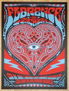 """Florence & the Machine - silkscreen concert poster (click image for more detail) Artist: Nate Duval Venue: Moody Theater Location: Austin, TX Concert Date: 5/20/2016 Size: 18"""" x 24"""" Edition: 300; sign"""