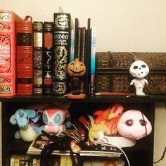 Books and little friends keeping me company as I write.  #plushy #stuffed_animal #books