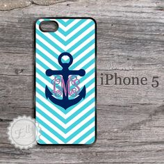 iPhone 5S Nautical Anchor and Stripes Monogram by ColorsAndFriends