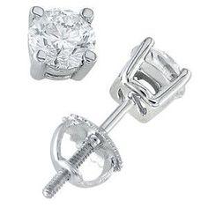 14k White Gold & Round Diamond Stud Earrings(2.00 ctw)
