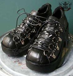 Goth Punk Cosplay Visual Kei D Ring Platform Heel Black Clog Sneaker Men Women #Handmade #Clogs