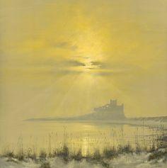 Bamburgh misty morning Peaceful Places, 2d Art, Beautiful Sunset, Natural Light, Mists, Castles, Monument Valley, Sunrise, Landscapes