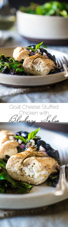 Grilled Goat Cheese Stuffed Chicken Breasts with Balsamic Blueberry Salsa – A 30 minute, easy, healthy dinner that feels fancy! Perfect for summer entertaining!   Foodfaithfitness.com   @FoodFaithFit