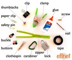 Fasteners - Picture Vocabulary | EFLnet