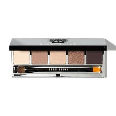 $49 bobbi brown Rich Caramel Eye Palette | A guilt-free holiday indulgence—this rich palette is packed with five warm cream, caramel and brown shadows in matte, shimmer and sparkle finishes. Hand-chosen by Bobbi, these complementary shades can be mixed and matched for a range of sweet-to-sultry eye looks. The sleek, black palette with embossed crest and silver interior includes a large mirror and Dual-Ended Eye Shadow/Eye Liner Brush.