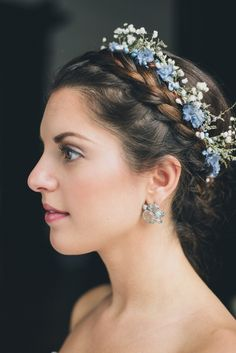 Blue flowers and baby's breath flower crown. // http://www.intimateweddings.com/blog/lace-angles-stylized-shoot/#more-64151