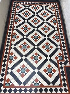 Victorian floor tiles and contemporary geometric ceramic tiles. Specialists in the design and supply of mosaic tile schemes. Victorian Hallway Tiles, Victorian Mosaic Tile, Tiled Hallway, Victorian Flooring, Hall Flooring, Porch Flooring, Hall Tiles, Porch Tile, Hallway Decorating
