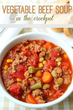 Crockpot vegetable beef soup recipe that is AMAZING and so easy to make!! You've…