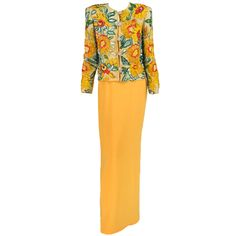 Adolfo beaded & sequin sunflower gown & jacket 1980s...Lesage copy?!!