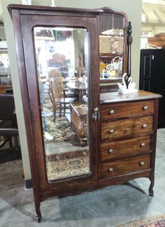 4 Drawer Dark Stained Antique Chifferobe - Sku: QB5JLW	 - $325